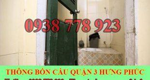 Thông bồn cầu bị tắc băng vệ sinh Quận 3 BH 5năm 0909994175