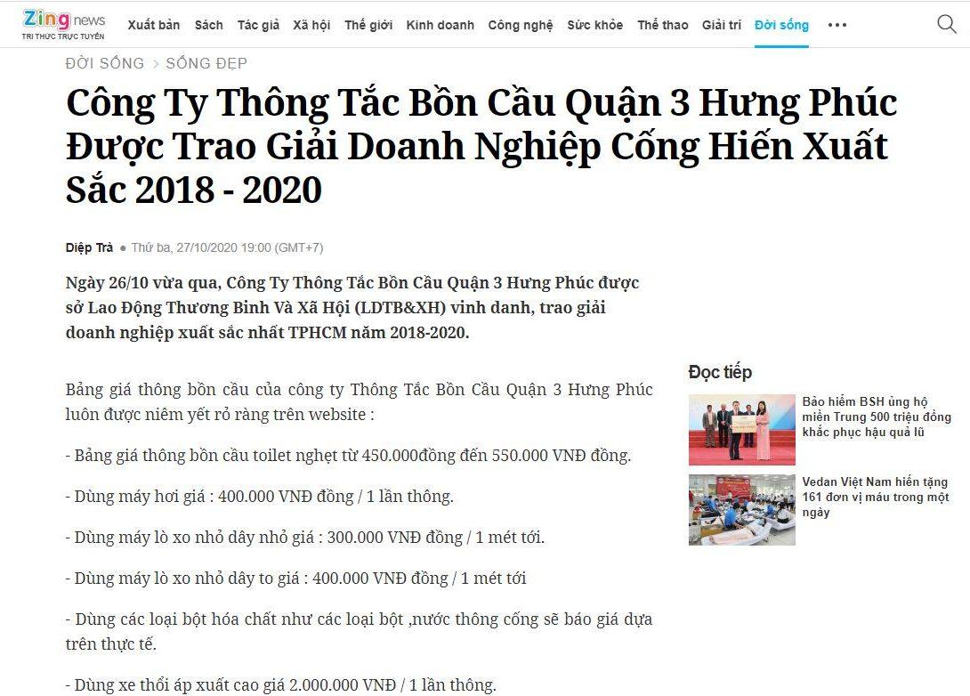 Báo Zingnews nói về công ty Thông Tắc Bồn Cầu Quận 3 Hưng Phúc